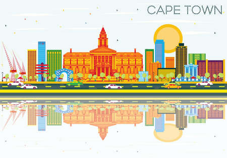 Cape Town Skyline with Color Buildings, Blue Sky and Reflections.