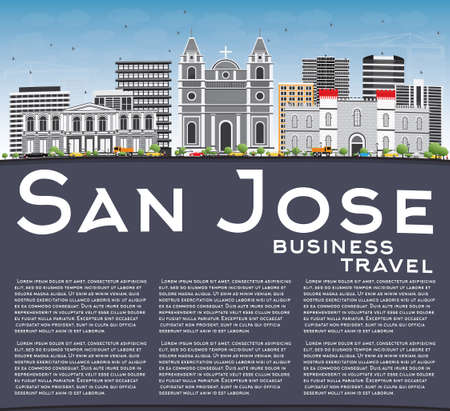 San Jose Skyline with Gray Buildings, Blue Sky and Copy Space. Illustration