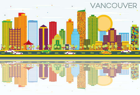Vancouver Skyline with Color Buildings, Blue Sky and Reflections.