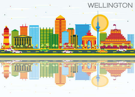 Wellington Skyline with Color Buildings, Blue Sky and Reflections. Vector Illustration. Business Travel and Tourism Concept with Modern Architecture. Image for Presentation Banner Placard and Web Site.