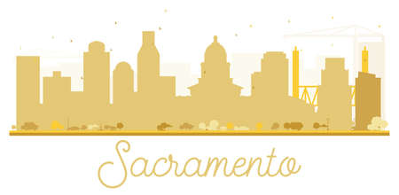 Sacramento City skyline golden silhouette. Vector illustration. Simple flat concept for tourism presentation, banner, placard or web site. Business travel concept. Cityscape with landmarks. Illustration