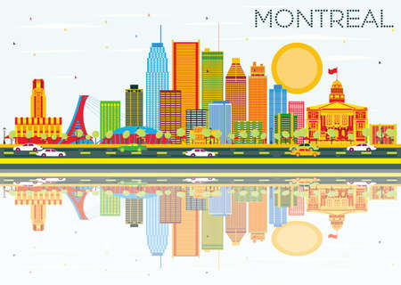 Montreal Skyline with Color Buildings, Blue Sky and Reflections. Illustration