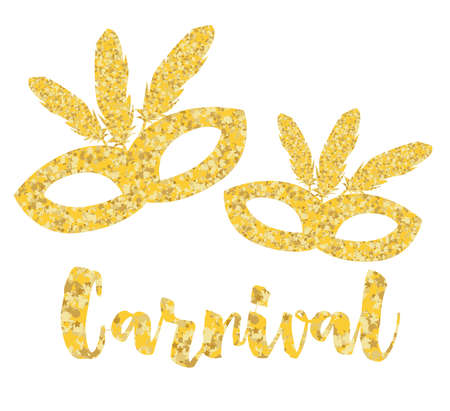 Gold Carnival Mask, Masquerade, Mardi Gras. Vector Illustration.