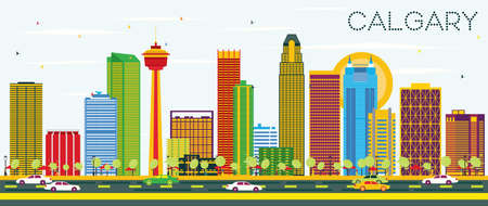 Calgary Skyline with Color Buildings and Blue Sky. Vector Illustration. Business Travel and Tourism Concept with Modern Architecture. Image for Presentation Banner Placard and Web Site