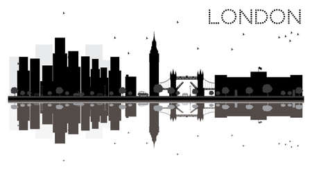 London City skyline black and white silhouette with Reflections. Vector Illustration. Simple flat concept for tourism presentation, banner, placard or web site. Cityscape with landmarks. Stock Vector - 73693527
