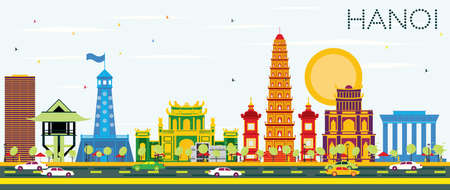 Hanoi Skyline with Color Buildings and Blue Sky. Vector Illustration. Business Travel and Tourism Concept with Historic Architecture. Image for Presentation Banner Placard and Web Site.