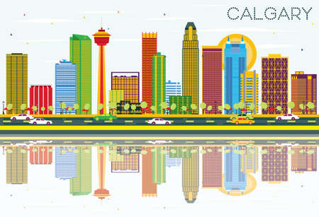 Calgary Skyline with Color Buildings, Blue Sky and Reflections. Vector Illustration. Business Travel and Tourism Concept with Modern Architecture. Image for Presentation Banner Placard and Web Site