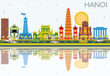 Hanoi Skyline with Color Buildings, Blue Sky and Reflections. Vector Illustration. Business Travel and Tourism Concept with Historic Architecture. Image for Presentation Banner Placard and Web Site.