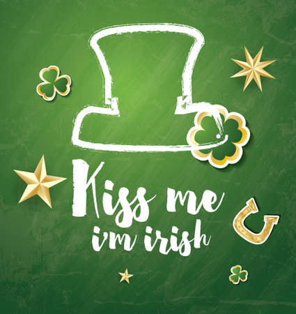 Saint Patricks Day Background with Clover Leaves, Horseshoe and Golden Stars. Vector illustration.