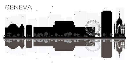 Horizonte de la ciudad de Ginebra silueta blanco y negro con reflejos. Ilustración del vector. Concepto plano simple para la presentación del turismo, la bandera, el cartel o el Web site. Paisaje urbano con hitos.