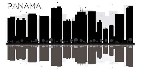 Panama City skyline black and white silhouette with reflections. Vector illustration. Simple flat concept for tourism presentation, banner, placard or web site. Cityscape with landmarks.