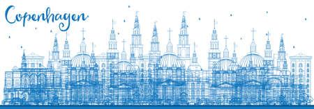 Contour Skyline de Copenhague avec des points de repère bleus. Illustration vectorielle. Concept de voyage d'affaires et de tourisme avec des bâtiments historiques. Image pour la bannière de présentation et le site Web.
