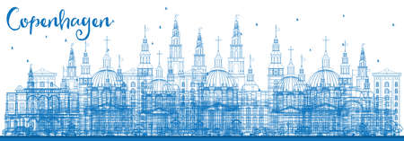 Outline Copenhagen Skyline with Blue Landmarks. Vector Illustration. Business Travel and Tourism Concept with Historic Buildings. Image for Presentation Banner Placard and Web Site.