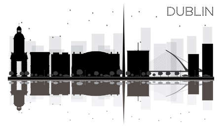 irish landscape: Dublin City skyline black and white silhouette with reflections. Vector illustration. Simple flat concept for tourism presentation, banner, placard or web site. Cityscape with famous landmarks.