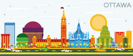 Ottawa Skyline with Color Buildings and Blue Sky. Vector Illustration. Business Travel and Tourism Concept with Modern Architecture. Image for Presentation Banner Placard and Web Site.