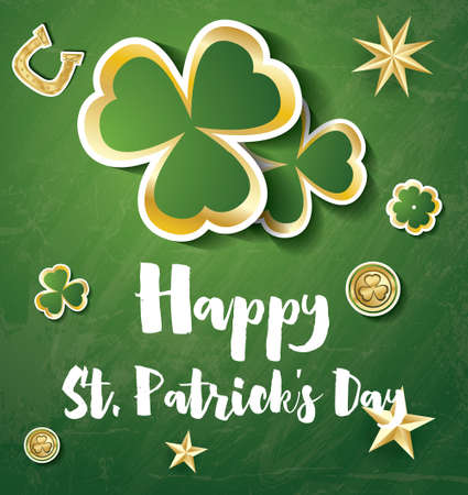 Saint Patricks Day Background with Clover Leaves, Golden Stars and Coins. Vector illustration. Illustration