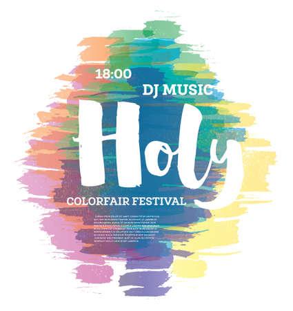 Colorful Happy Holi Background. Vector Illustration.