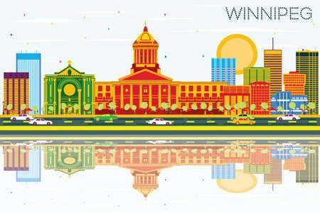 winnipeg: Winnipeg Skyline with Color Buildings, Blue Sky and Reflections. Vector Illustration. Business Travel and Tourism Concept with Modern Architecture. Image for Presentation Banner Placard and Web Site. Illustration