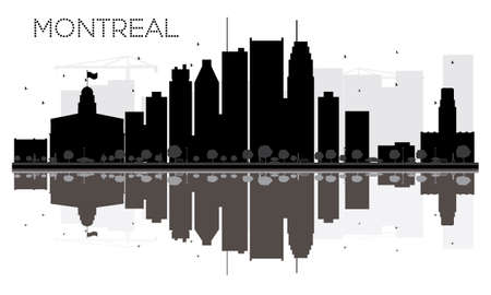 Montreal City skyline black and white silhouette with reflections. Vector illustration. Simple flat concept for tourism presentation, banner, placard or web site. Cityscape with landmarks.