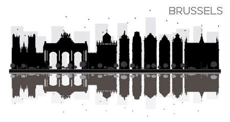 Brussels City skyline black and white silhouette with reflections. Vector illustration. Simple flat concept for tourism presentation, banner, placard or web site. Cityscape with landmarks.