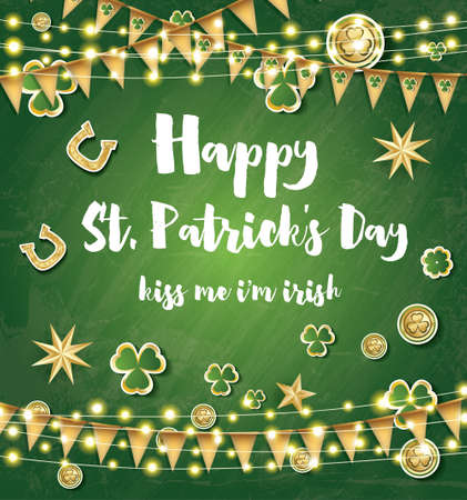 leafed: Saint Patricks Day Background with Clover Leaves, Neon Lights and Golden Stars. Vector illustration.
