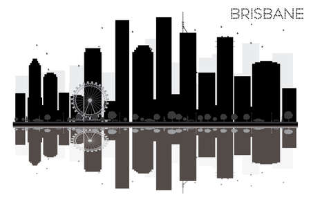 Brisbane City skyline black and white silhouette with reflections. Vector illustration. Simple flat concept for tourism presentation, banner, placard or web site. Cityscape with landmarks. Illustration