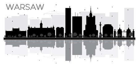 Warsaw City skyline black and white silhouette with reflections. Vector illustration. Simple flat concept for tourism presentation, banner, placard or web site. Cityscape with landmarks.
