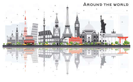 Travel Concept Around the World with Famous International Landmarks. Vector Illustration. Business and Tourism Concept. Image for Presentation, Placard, Banner or Web Site.
