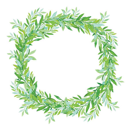 Olive wreath isolated on white background. Green tea tree leaves. Vector illustration.  イラスト・ベクター素材