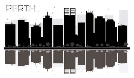 Perth City skyline black and white silhouette with reflections. Vector illustration. Simple flat concept for tourism presentation, banner, placard or web site. Cityscape with landmarks. Vektorové ilustrace