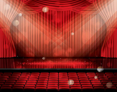 Open Red Curtains with Seats and Copy Space. Theater, Opera or Cinema Scene. Light on a Floor.