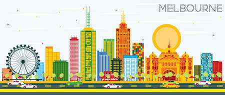Melbourne Skyline with Color Buildings and Blue Sky. Vector Illustration. Business Travel and Tourism Concept with Modern Architecture. Image for Presentation Banner Placard and Web Site.