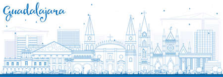 guadalajara: Outline Guadalajara Skyline with Blue Buildings. Vector Illustration. Business Travel and Tourism Concept with Historic Architecture. Image for Presentation Banner Placard and Web Site. Illustration