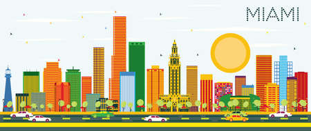 Miami Skyline with Color Buildings and Blue Sky. Vector Illustration. Business Travel and Tourism Concept with Modern Architecture. Image for Presentation Banner Placard and Web Site.