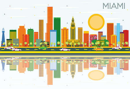 Miami Skyline with Color Buildings, Blue Sky and Reflections. Vector Illustration. Business Travel and Tourism Concept with Modern Architecture. Image for Presentation Banner Placard and Web Site.