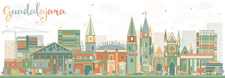 guadalajara: Abstract Guadalajara Skyline with Color Buildings. Vector Illustration. Business Travel and Tourism Concept with Historic Architecture. Image for Presentation Banner Placard and Web Site.
