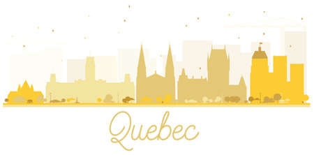 quebec: Quebec City skyline golden silhouette. Vector illustration. Simple flat concept for tourism presentation, banner, placard or web site. Business travel concept. Cityscape with landmarks Illustration