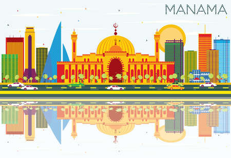 Manama Skyline with Color Buildings, Blue Sky and Reflections. Vector Illustration. Business Travel and Tourism Concept with Modern Architecture. Image for Presentation Banner Placard and Web Site.