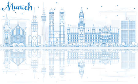 Outline Munich Skyline with Blue Buildings and Reflections. Vector Illustration. Business Travel and Tourism Concept with Historic Architecture. Image for Presentation Banner Placard and Web Site.