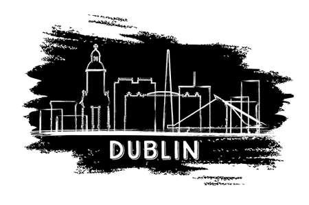 ireland cities: Dublin Skyline Silhouette, Hand Drawn Sketch. Business Travel and Tours Concept with Historic Architecture.