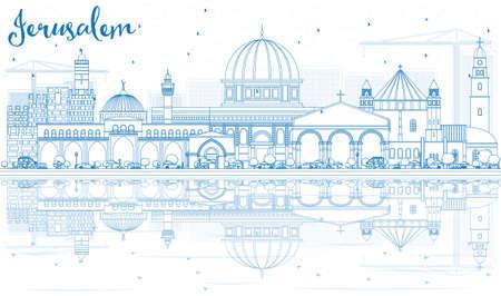 Oculare l'orizzonte di Gerusalemme con gli edifici blu e le riflessioni. Illustrazione Vettoriale. Business Travel and Tourism Concept con architettura storica. Immagine per Presentazione Banner Placard e sito Web Vettoriali