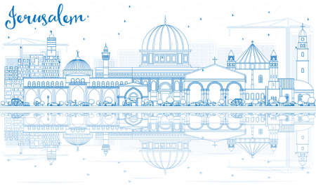 Outline Jerusalem Skyline with Blue Buildings and Reflections. Vector Illustration. Business Travel and Tourism Concept with Historic Architecture. Image for Presentation Banner Placard and Web Site