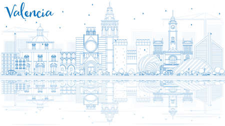 Outline Valencia Skyline with Blue Buildings and Reflections. Illustration