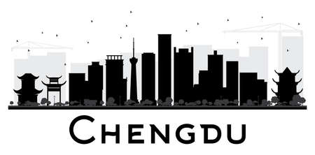 Chengdu City skyline black and white silhouette. Vector illustration. Simple flat concept for tourism presentation, banner, placard or web site. Cityscape with landmarks. Vector Illustration