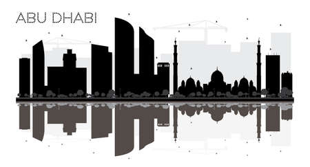 sky scraper: Abu Dhabi City skyline black and white silhouette with reflection. Vector illustration. Simple flat concept for tourism presentation, banner, placard or web site. Business travel concept. Cityscape with landmarks.