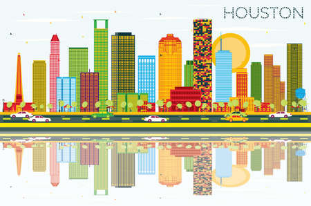 Houston Skyline with Color Buildings, Blue Sky and Reflections. Vector Illustration. Business Travel and Tourism Concept with Modern Buildings. Image for Presentation Banner Placard and Web Site.