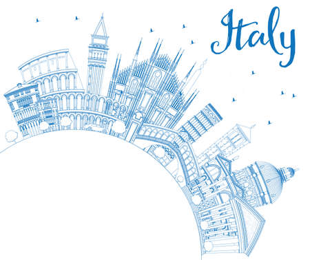 Outline Italy Skyline with Blue Landmarks and Copy Space. Vector Illustration. Business Travel and Tourism Concept with Historic Architecture. Image for Presentation Banner Placard and Web Site. Illustration