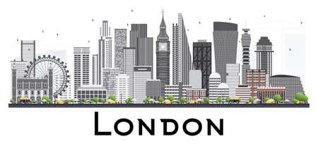 グレーの建物でロンドンのスカイライン。ベクトルの図。白い背景上に分離。ビジネス旅行や観光の概念です。プレゼンテーション バナー プラカー  イラスト・ベクター素材