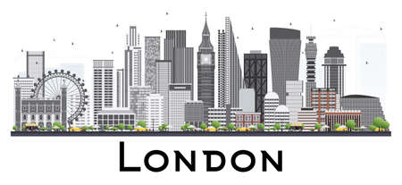 London Skyline with Gray Buildings. Vector Illustration. Isolated on White Background. Business Travel and Tourism Concept. Image for Presentation Banner Placard and Web Site. Illustration