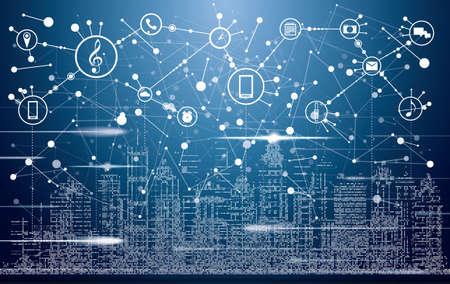 Smart City con edificios de neón, redes e iconos de Internet de las cosas. Ilustración vectorial